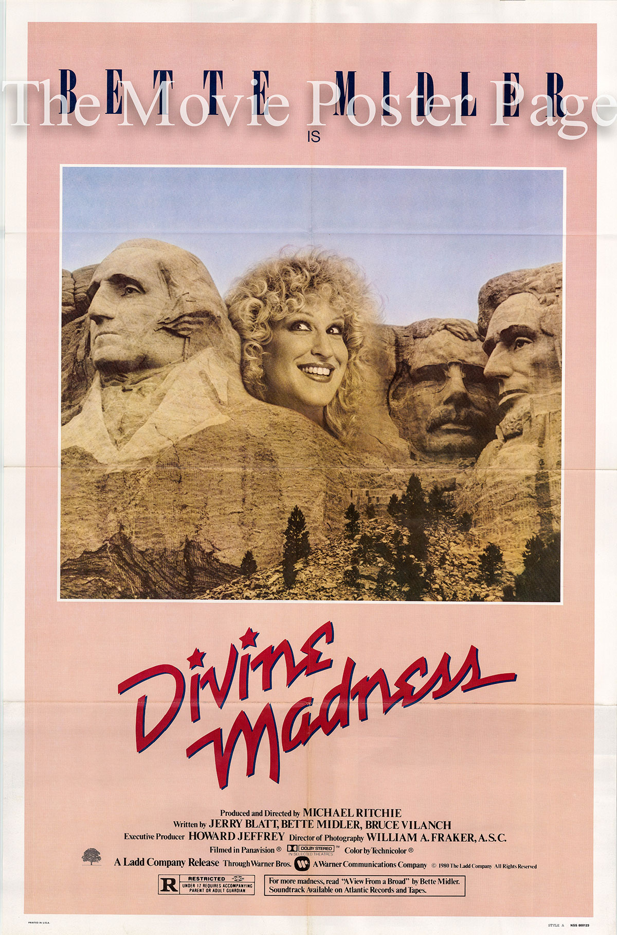 Pictured is a US one-sheet for the 1980 Michael Richie film Divine Madness starring Bette Midler.