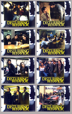 Pictured is the promotional lobby card set for the 1998 David Nutter film Disturbing Behavior starring Katie Holmes and James Marsden.