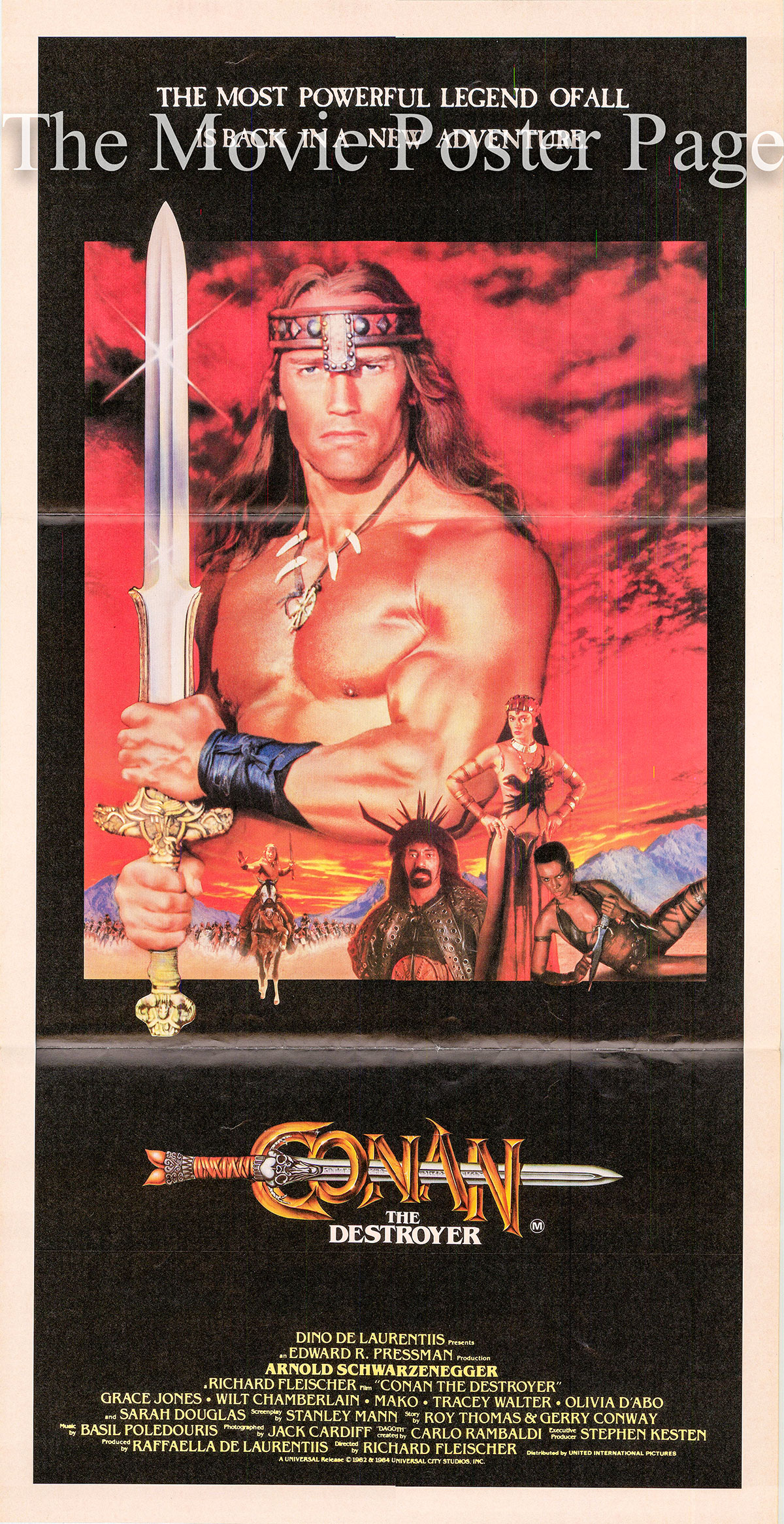 Pictured is an Australian Day Bill poster for the 1984 Richard Fleischer film Conan the Destroyer starring Arnold Schwarzenegger.