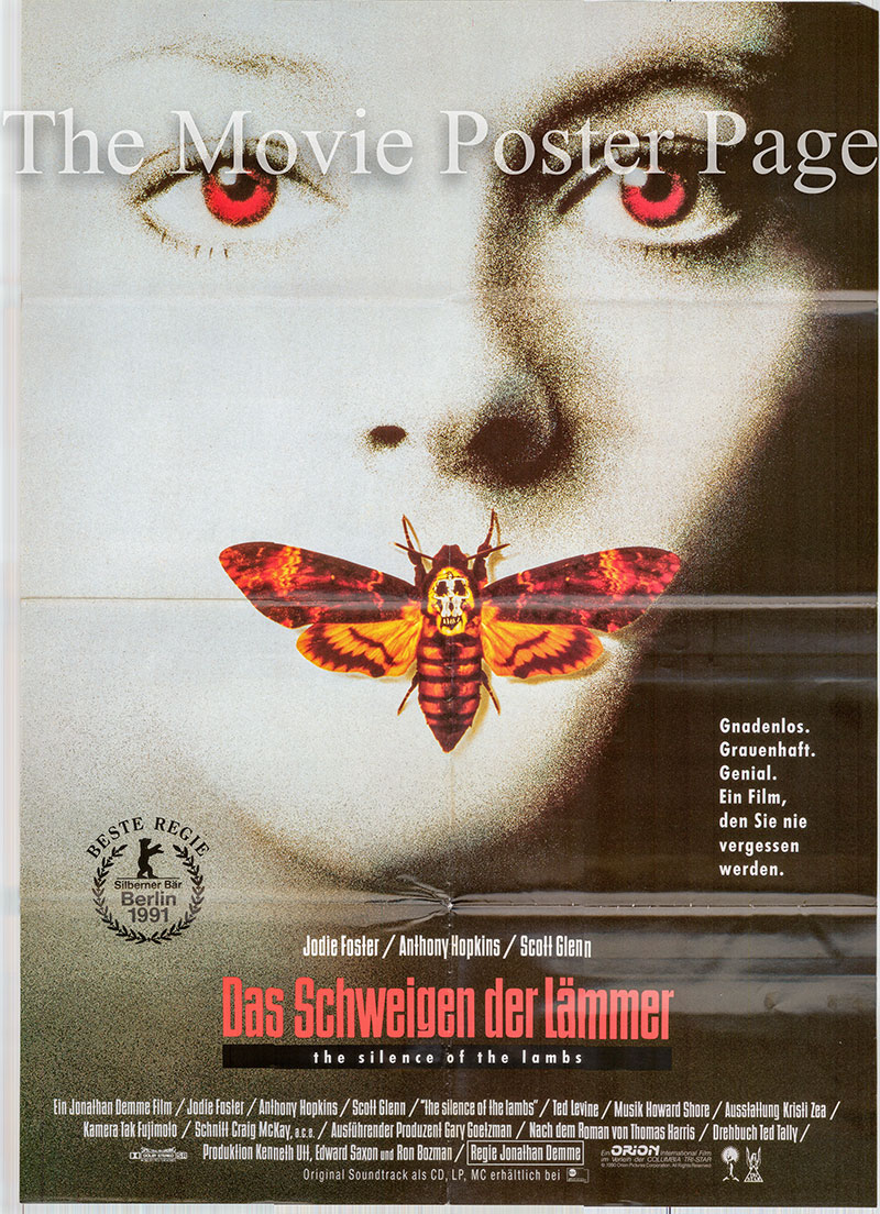 Pictured is a German one-sheet poster for the 1991 Jonathan Demme film The Silence of the Lambs starring Anthony Hopkins as Dr. Hannibal Lecter.