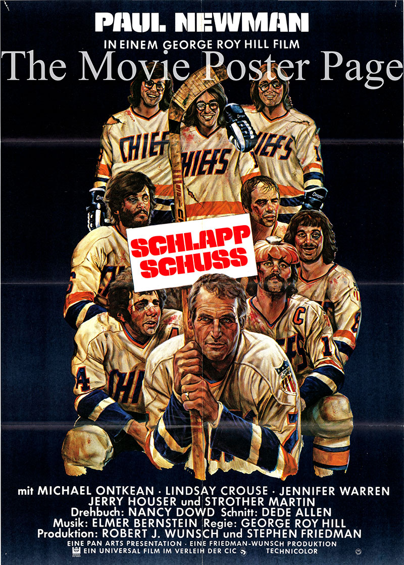 Pictured is a German poster for the 1977 George Roy Hill film Slap Shot starring Paul Newman as Reggie.