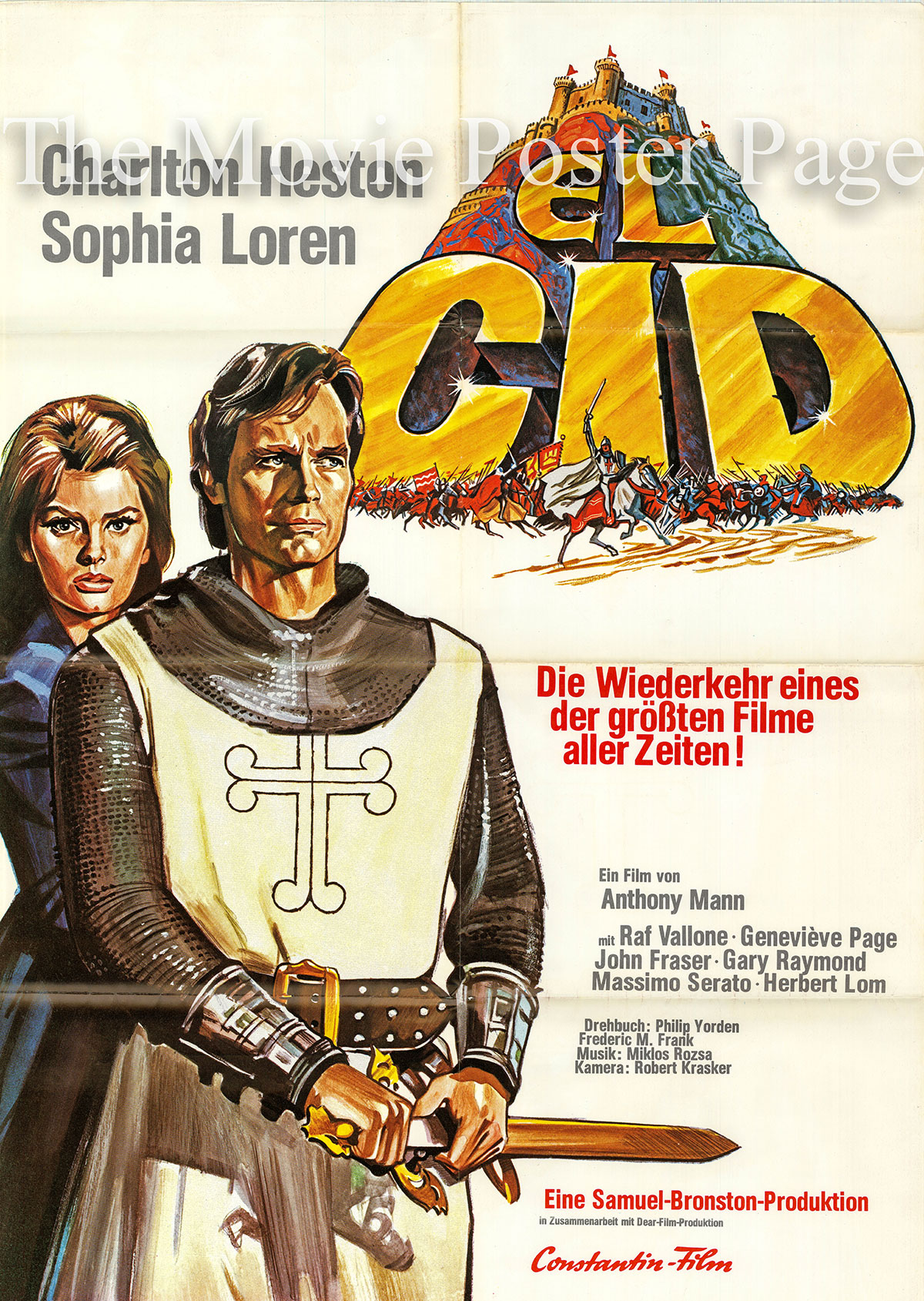 Pictured is a German promotional poster for the 1961 Anthony Mann film El Cid starring Charlton Heston and Sophia Loren.