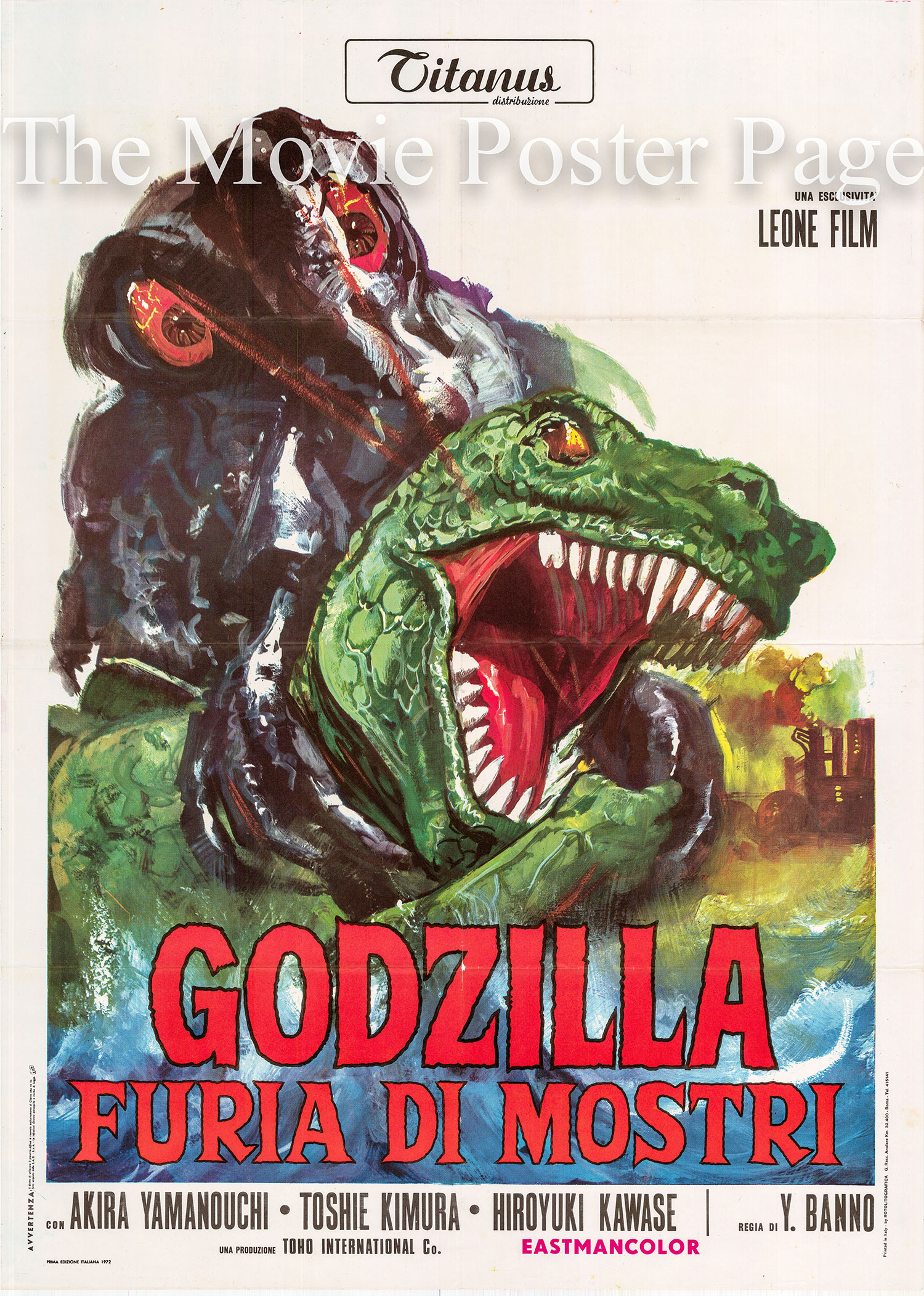 Pictured is an Italian two-sheet poster for the 1971 Yoshimitsu Banno film Godzilla vs. the Smog Monster, starring Akira Yamauchi as Dr. Toru Yano.