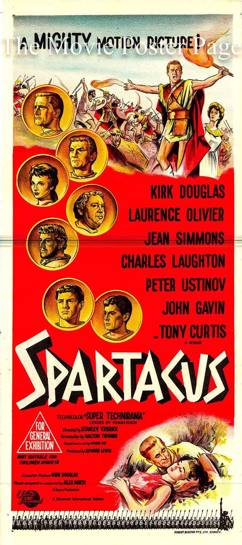 Pictured is an Australian Day Bill poster for the 1960 Stanley Kubrick film Spartacus starring Kirk Douglas as Spartacus.