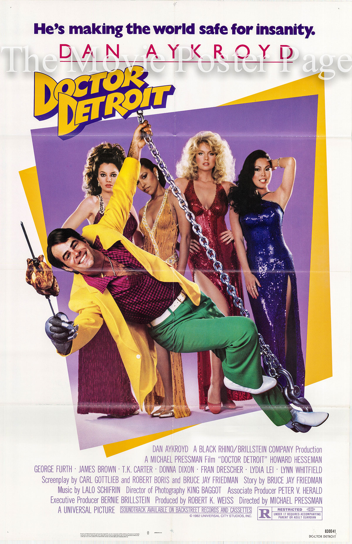 Pictured is a US one-sheet poster for the 1983 Michael Pressman film Doctor Detroit starring Dan Aykroyd.