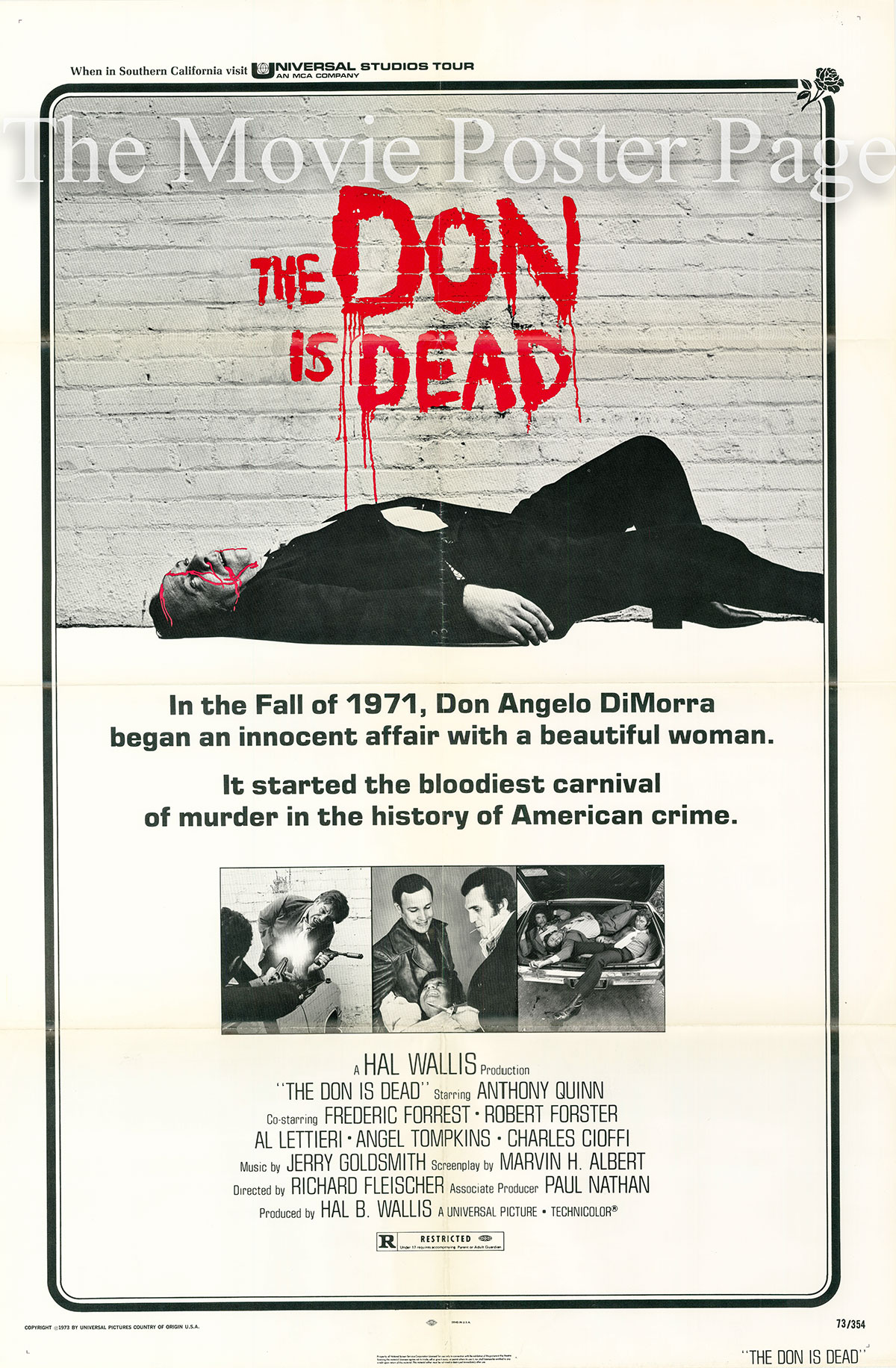 Pictured is a US one-sheet poster for the 1973 Richard Fleischer film The Don is Dead starring Anthony Quinn as Don Angelo DiMorra.