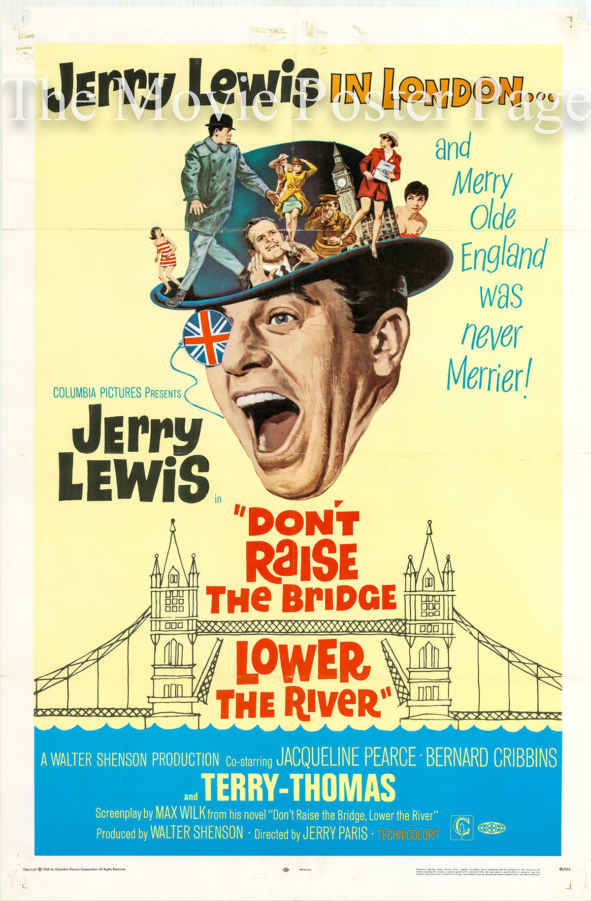 Pictured is a US one-sheet promotional poster for the 1968 Jerry Paris film Don't Raise the Bridge Lower the River starring Jerry Lewis.