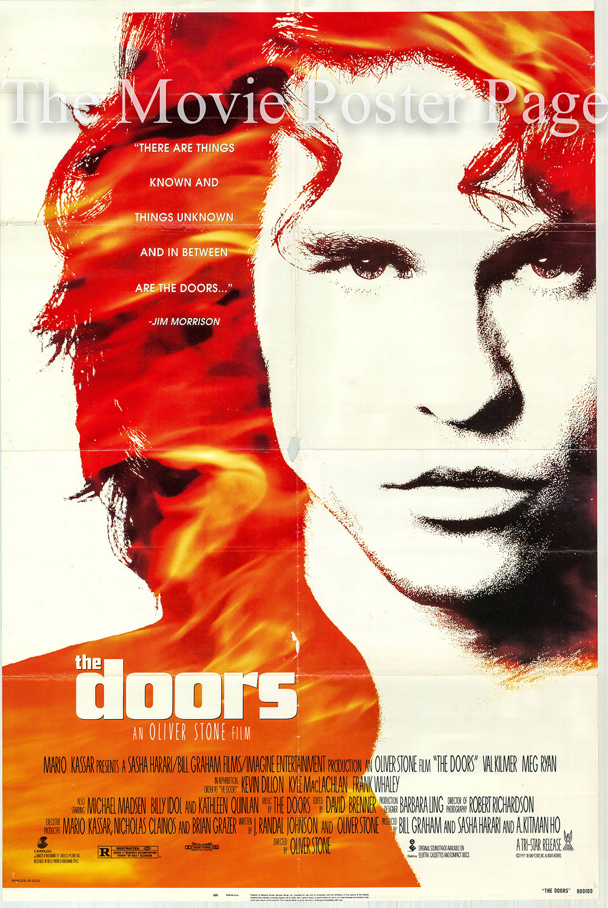 Pictured is a US one-sheet poster for the 1990 Oliver Stone film The Doors starring Val Kilmer as Jim Morrison.