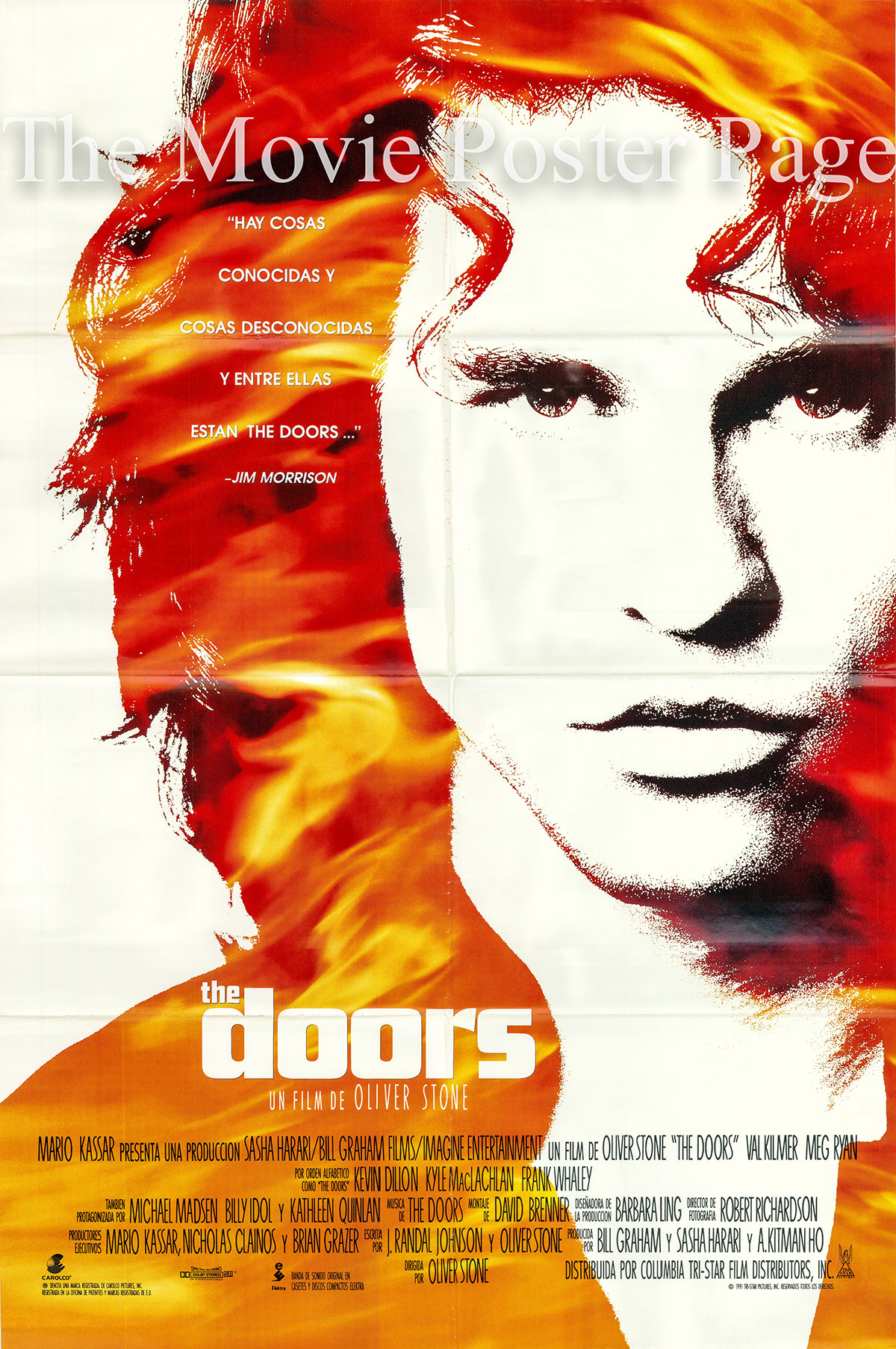 Pictured is a Spanish one-sheet poster for the 1990 Oliver Stone film The Doors starring Val Kilmer as Jim Morrison.