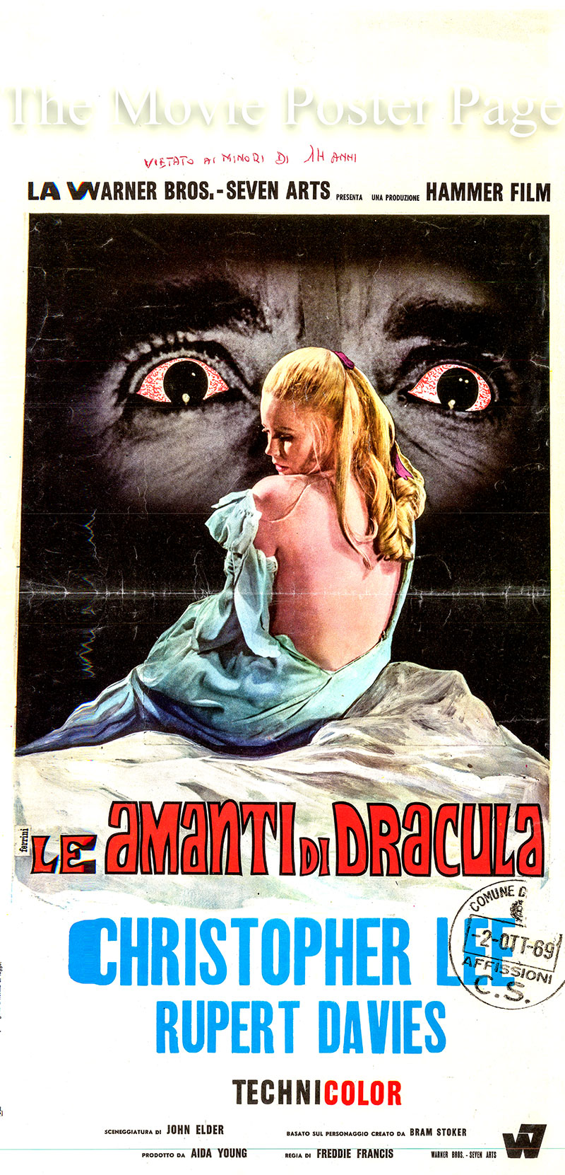 Pictured is an Italian locandina promotional poster for the 1968 Freddie Francis film Dracula Has Risen from the Grave starring Christopher Lee as Dracula.