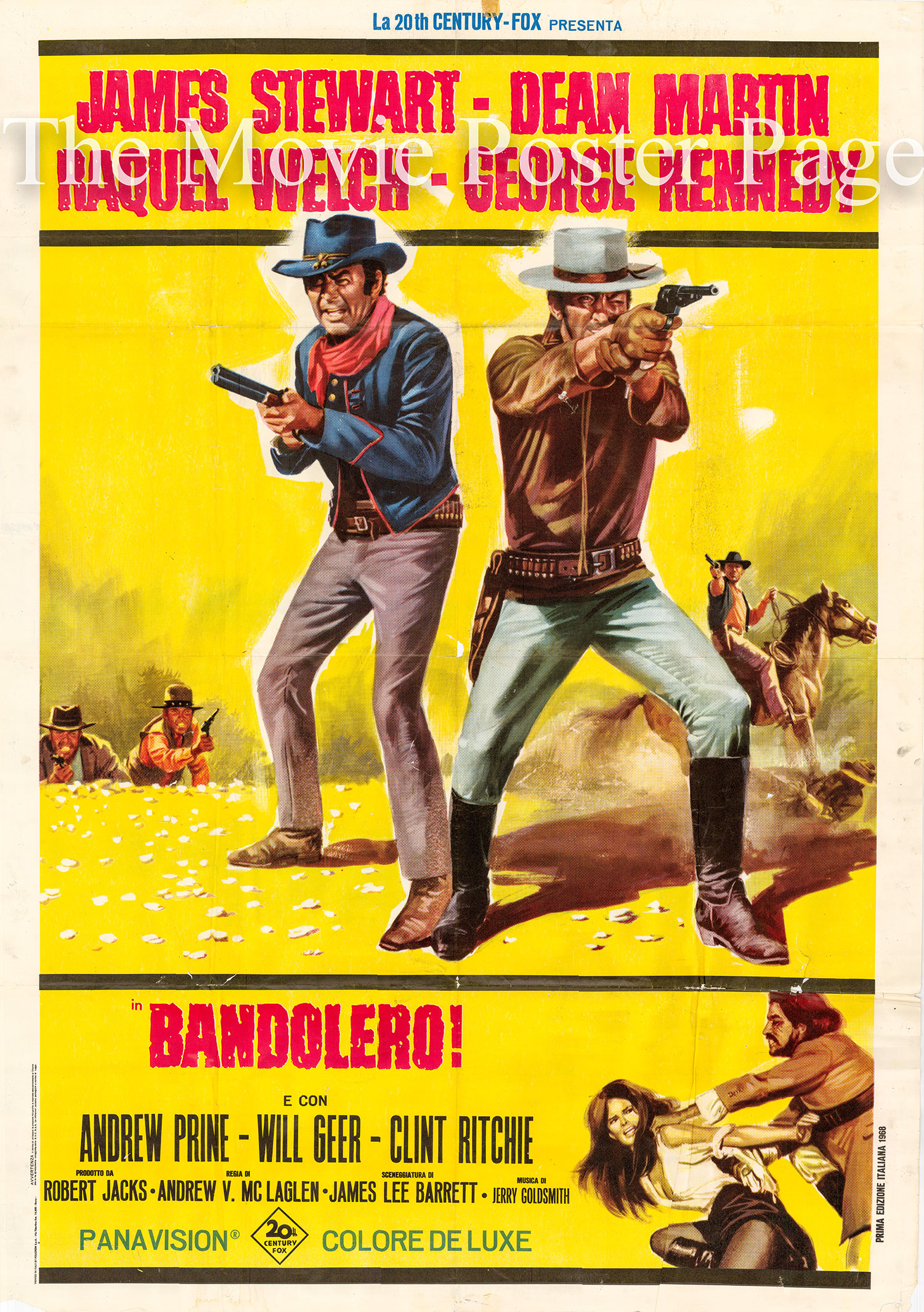 Pictured is an Italian two-sheet poster for the 1968 Andrew V. McLaglen film Bandolero starring Dean Martin and James Stewart.