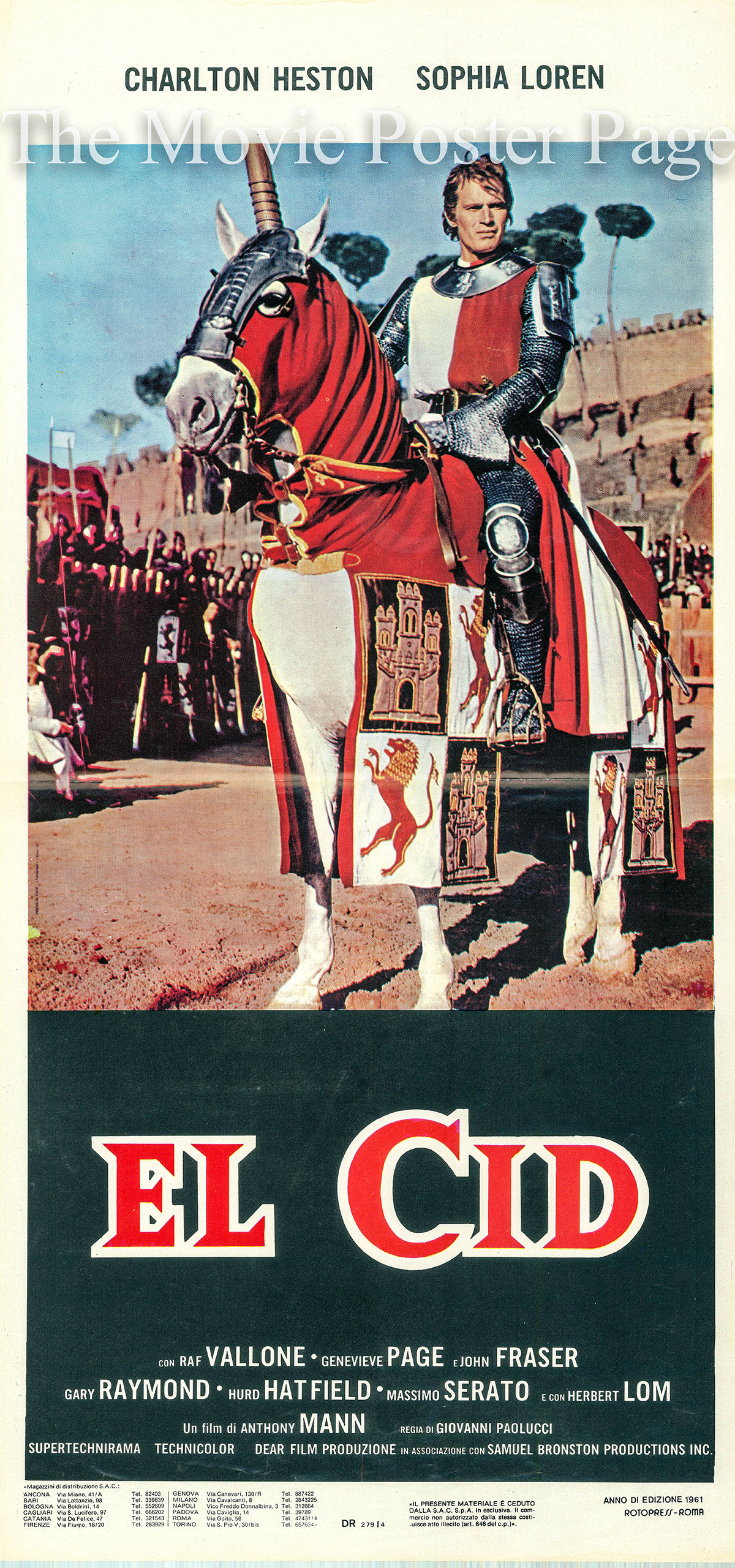 Pictured is an Italian locandina poster for the 1961 Anthony Mann film El Cid starring Charlton Heston and Sophia Loren.
