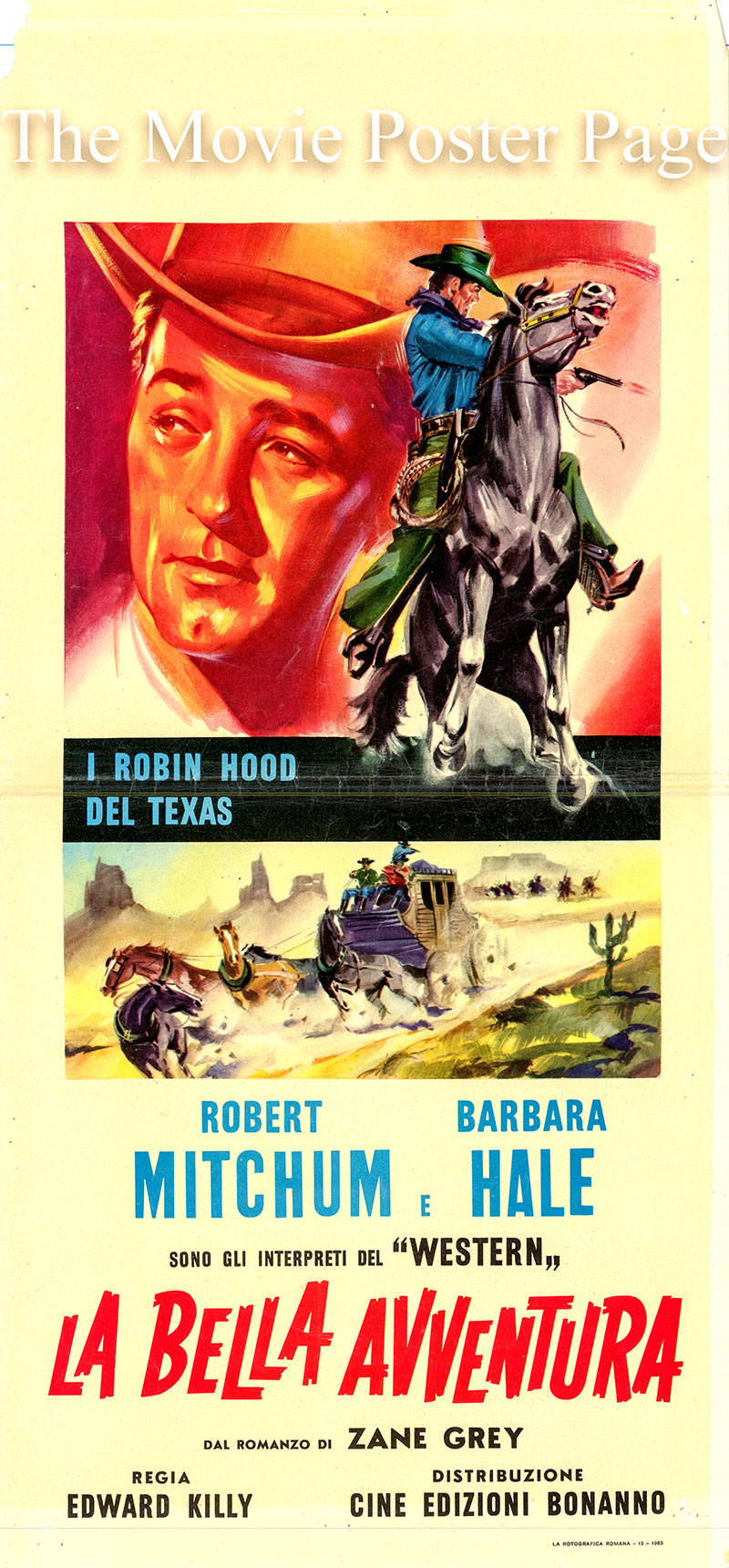 Pictured is an Italian locandina poster for a 1963 rerelease of the 1945 Edward Killy film West of the Pecos starring Robert Mitchum as Pecos Smith.
