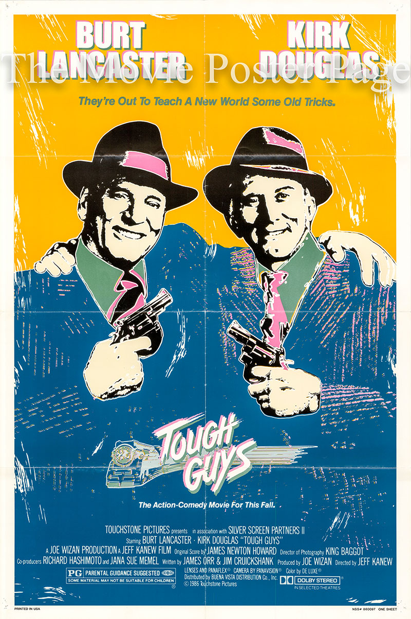 pictured is a US promotional one-sheet poster for the 1986 Jeff Kanew film Tough Guys starring Burt Lancaster and Kirk Douglas