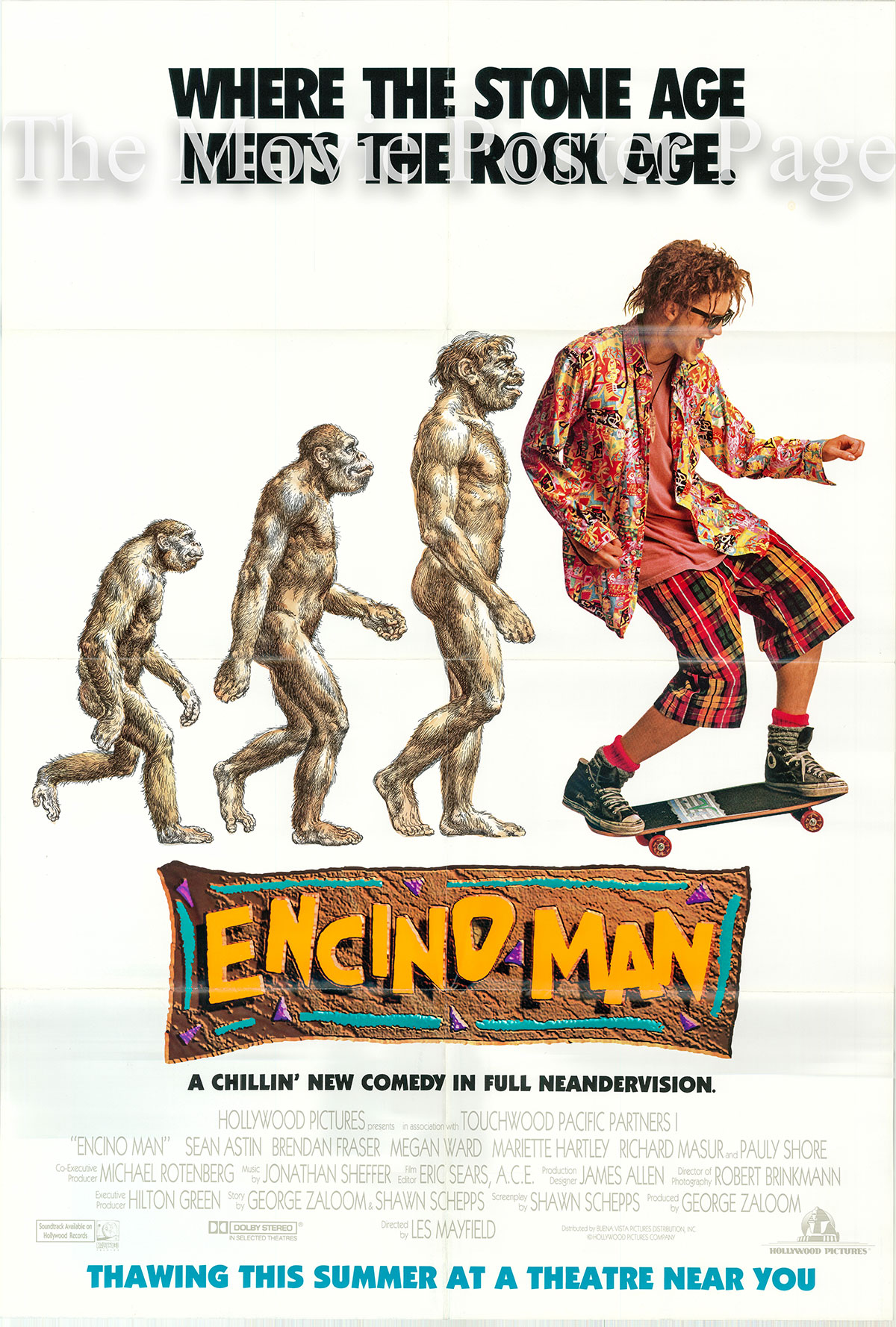 Pictured is a US advance one-sheet poster for the 1992 Les Mayfield film Encino Man starring Brendan Fraser.