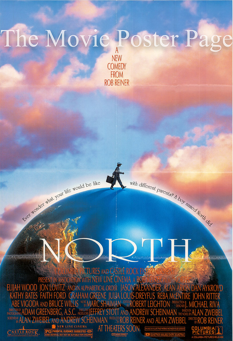 Pictured is a US one-sheet poster for the 1994 Rob Reiner film North starring Jason Alexander.