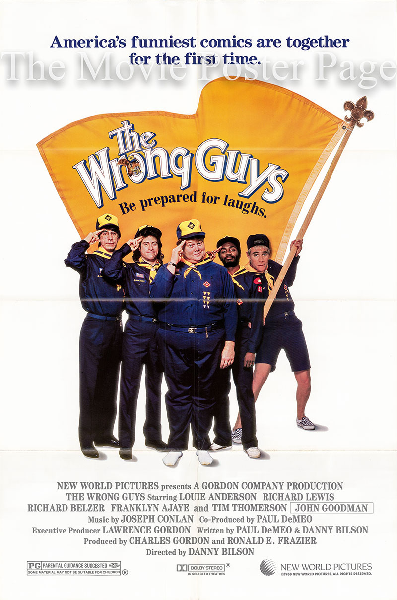Pictured is a US one-sheet poster for the 1988 Danny Bilson film The Wrong Guys starring Louii Anderson as Louie.