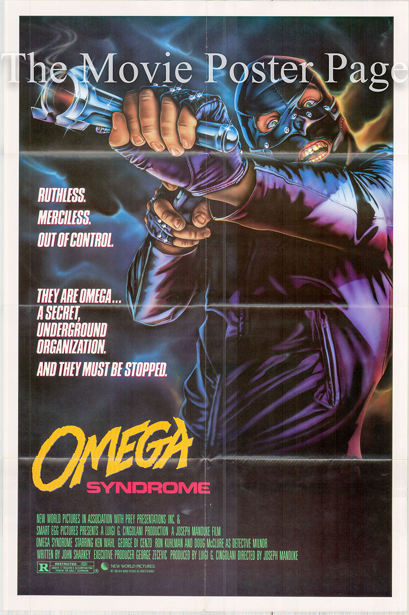 Pictured is a US one-sheet postr for the 1986 Joesph Manduke film Omega Syndrome starring Ken Wahl.