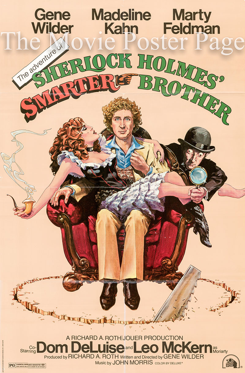 Pictured is a US one-sheet poster for the 1975 Gene Wilder film Sherlock Holmes Smarter Brother starring Gene Wilder as Sigerson Holmes.