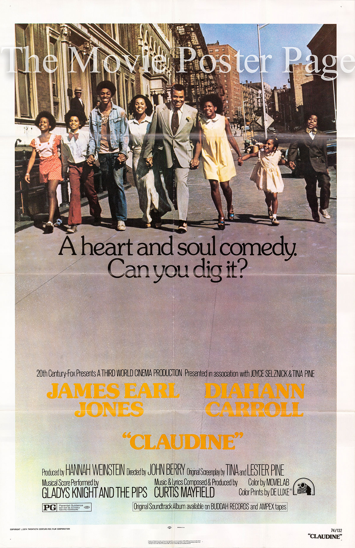 Pictured is a US one-sheet promotional poster for the 1974 John Berry film Claudine starring Diahann Carroll as Claudine.