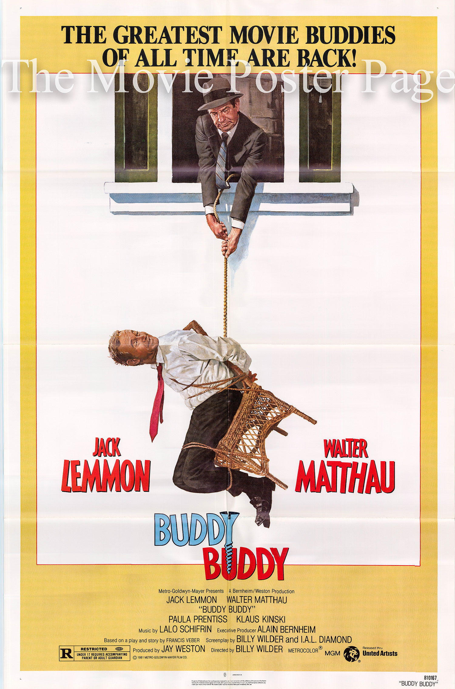 Pictured is a US one-sheet poster for the 1981 Billy Wilder film Buddy Buddy starring Jack Lemmon and Walter Matthau.