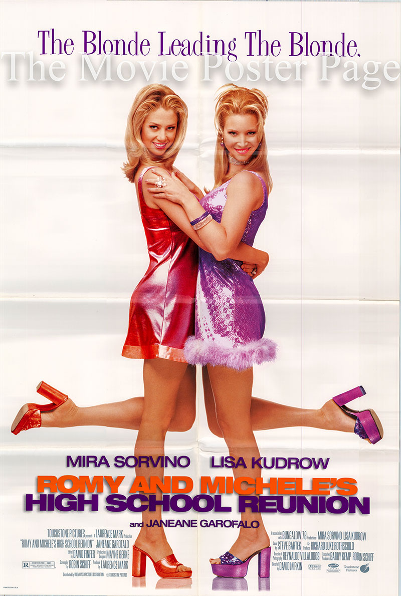 Pictured is a US one-sheet poster for the 1997 David Mirkin film Romy and Michele's High School Reunion starring Mira Sorvino as Romy White.