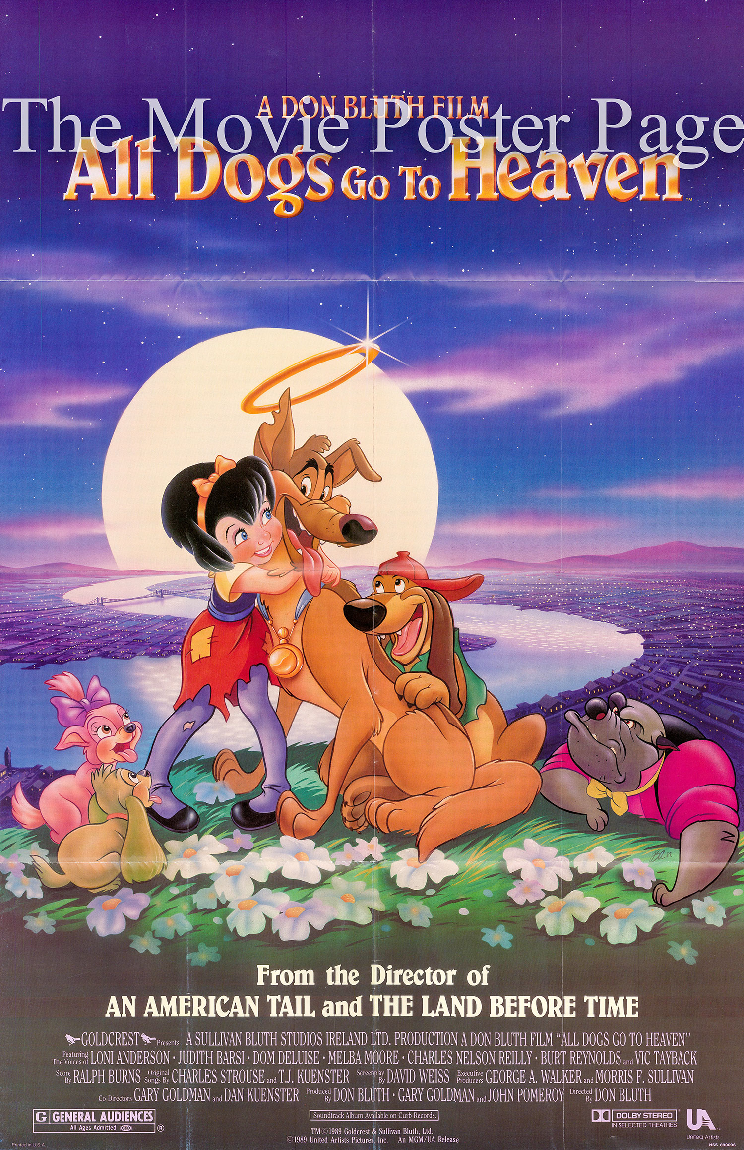 Pictured is a US one-sheet promotional poster for the 1989 Don Bluth and Gary Goldman film <i>All Dogs Go to Heaven</i> starring Burt Reynolds as the voice of Charlie B. Barkin.