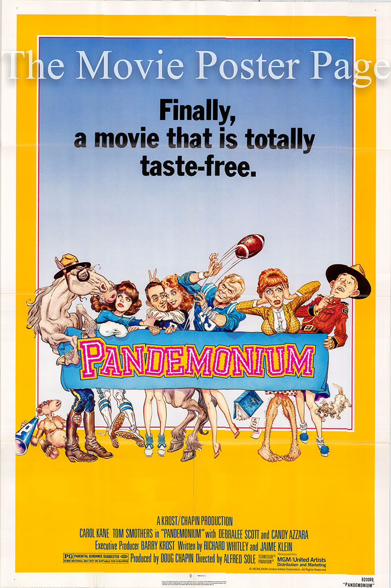 Pictured is a US one-sheet poster for the 1982 Alfred Sole film Pandemonium starring Tom Smothers.