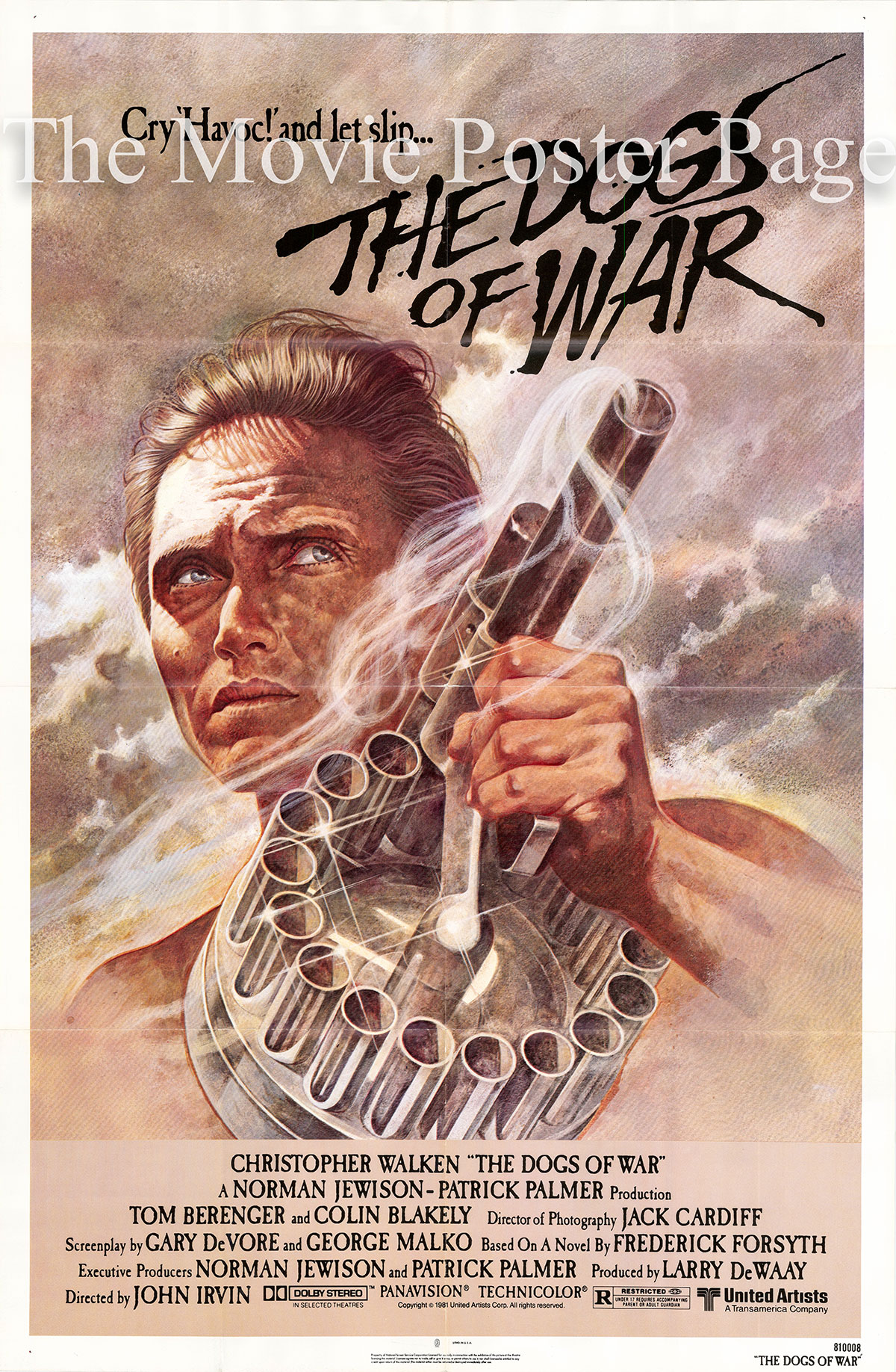 Pictured is a US one-sheet poster for the 1981 John Irvin film The Dogs of War starring Christopher Walken.