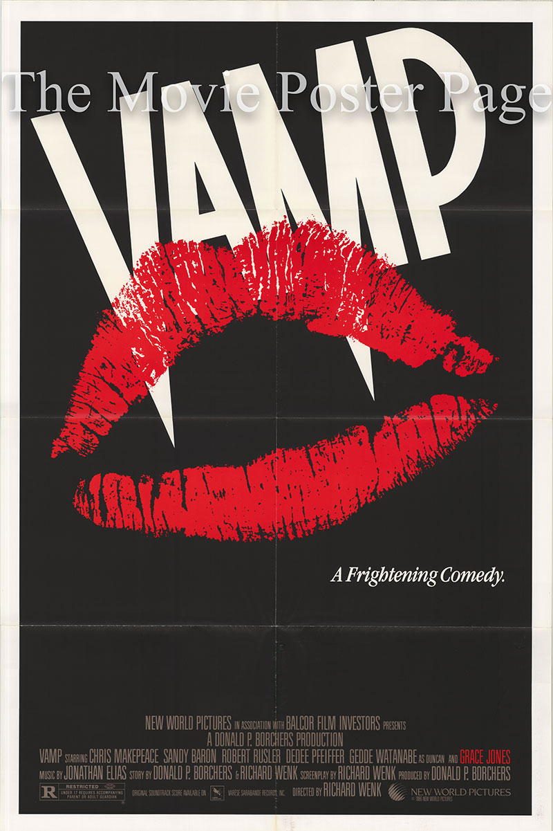 Pictured is a US one-sheet poster for the 1986 Richard Wenk film Vamp starring Chris Makepeace as Keith.