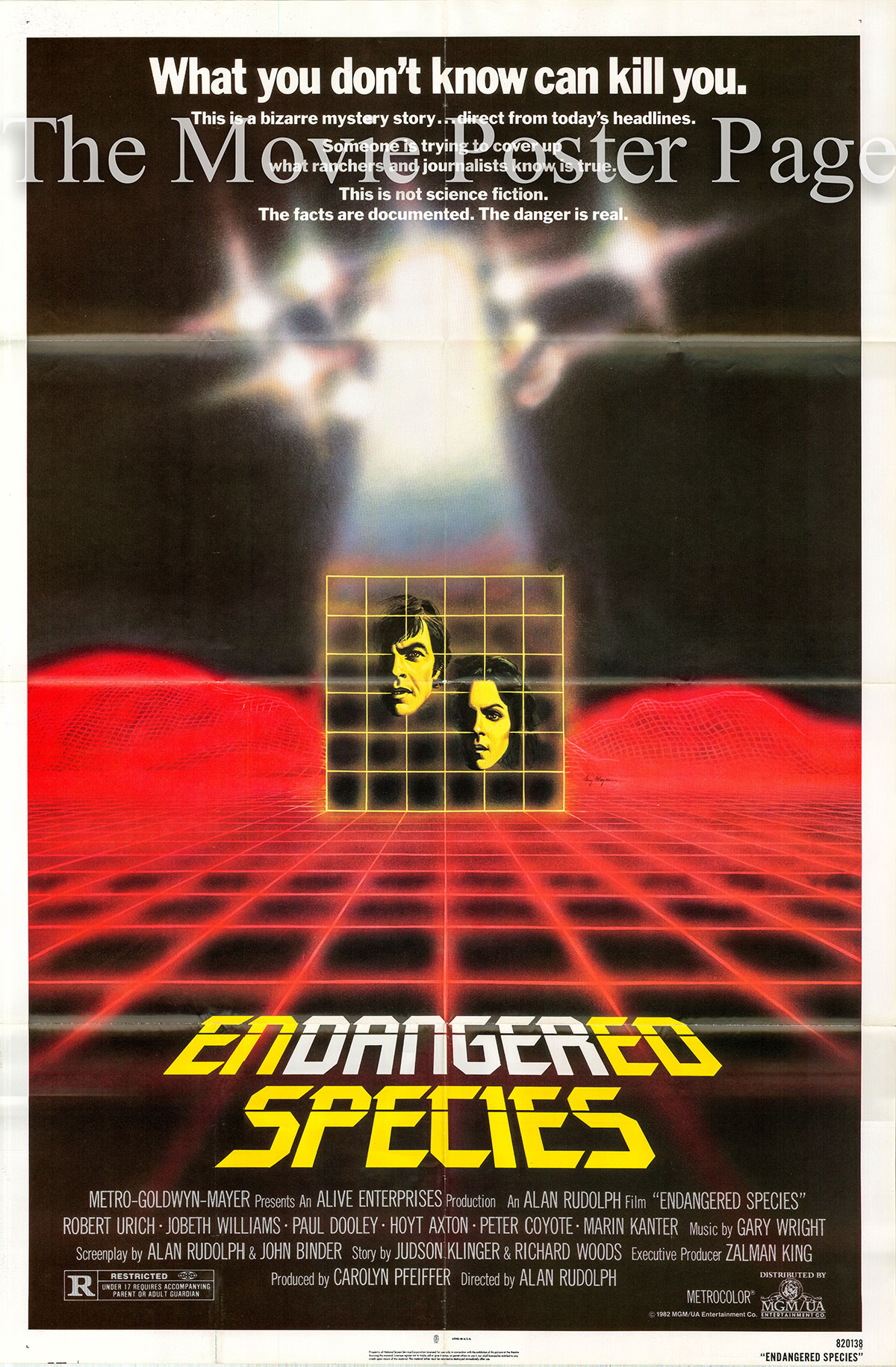 Pictured is a US one-sheet poster for the 1982 Alan Rudolph film Endangered Species starringRobert Urich as Ruben Castle.