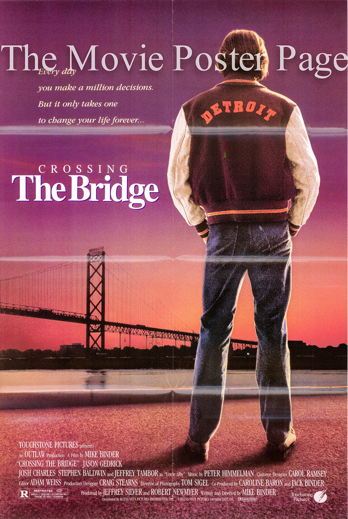 Pictured is a US promotional one-sheet poster for the 1992 Mike Binder film Crossing the Bridge starring Josh Charles.