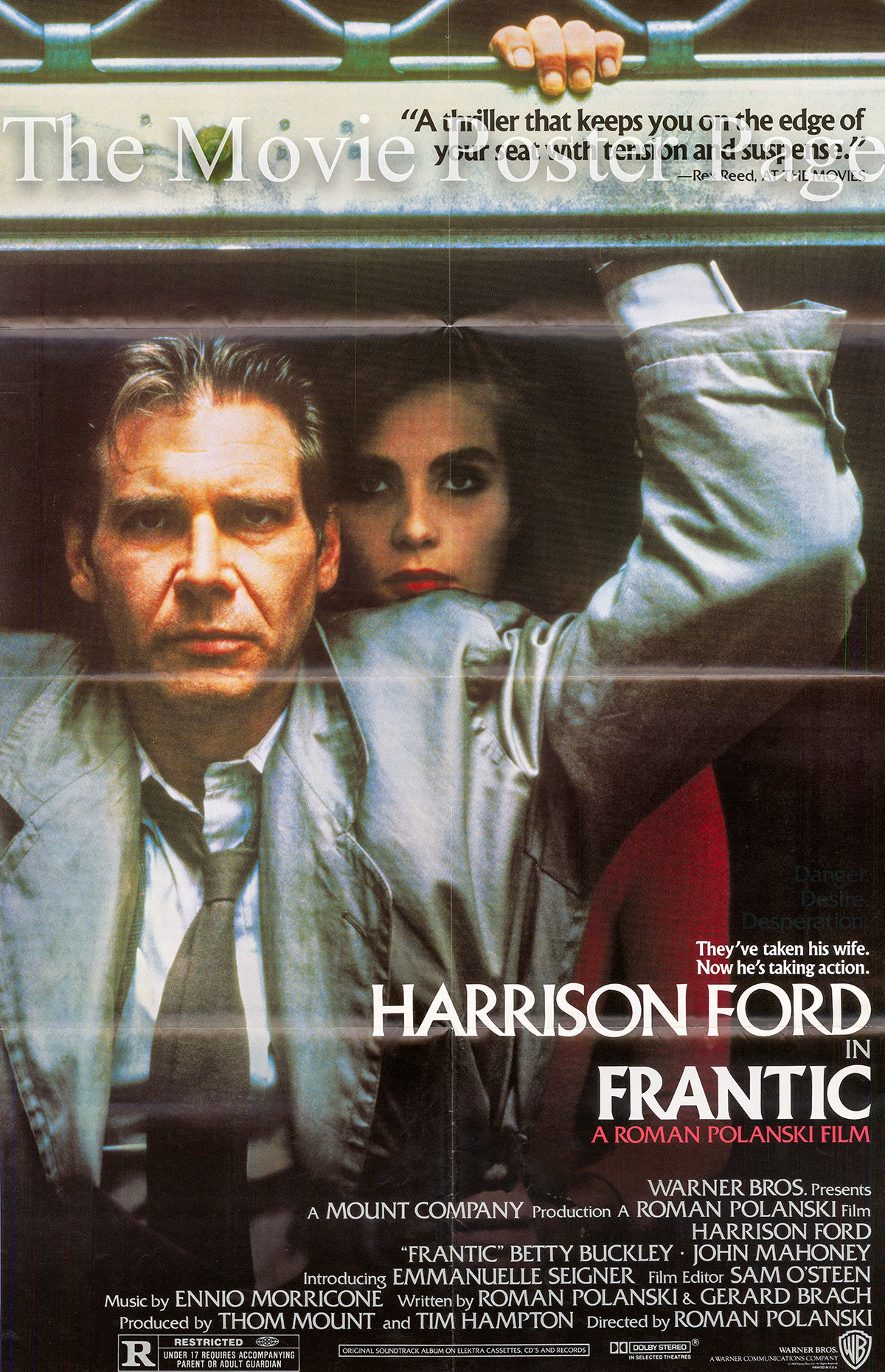 Pictured is a US one-sheet poster for the 1988 Roman Polanski film Frantic starring Harrison Ford.