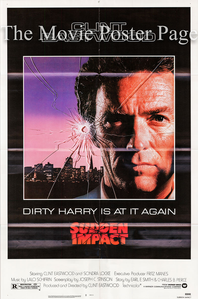 Pictured is a US one-sheet poster for the 1983 Clint Eastwood film Sudden Imact starring Clint Eastwood as Harry Callahan.