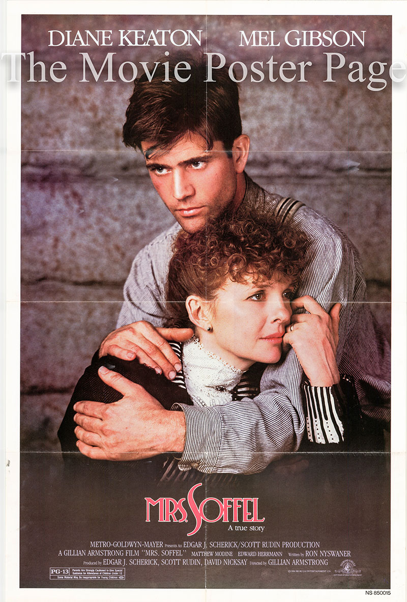 Pictured is a US one-sheet poster for the 1984 Gillian Armstrong film Mrs. Soffel starring Diane Keaton as Kate Soffel.