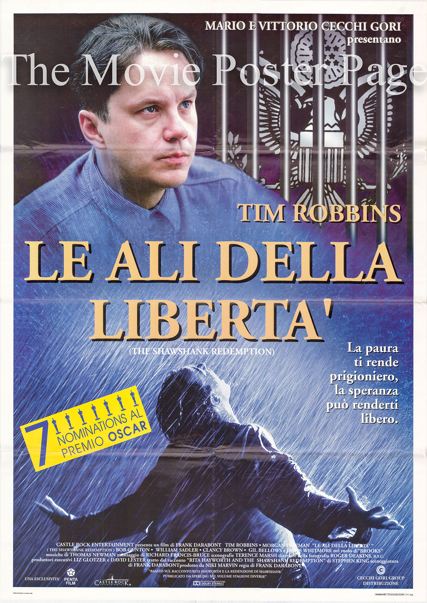 Pictured is an Italian two-sheet promotional poster for the 1995 Frank Darabont film <i>The Shawshank Redemption</i> starring Tim Robbins as Andy Dufresne.