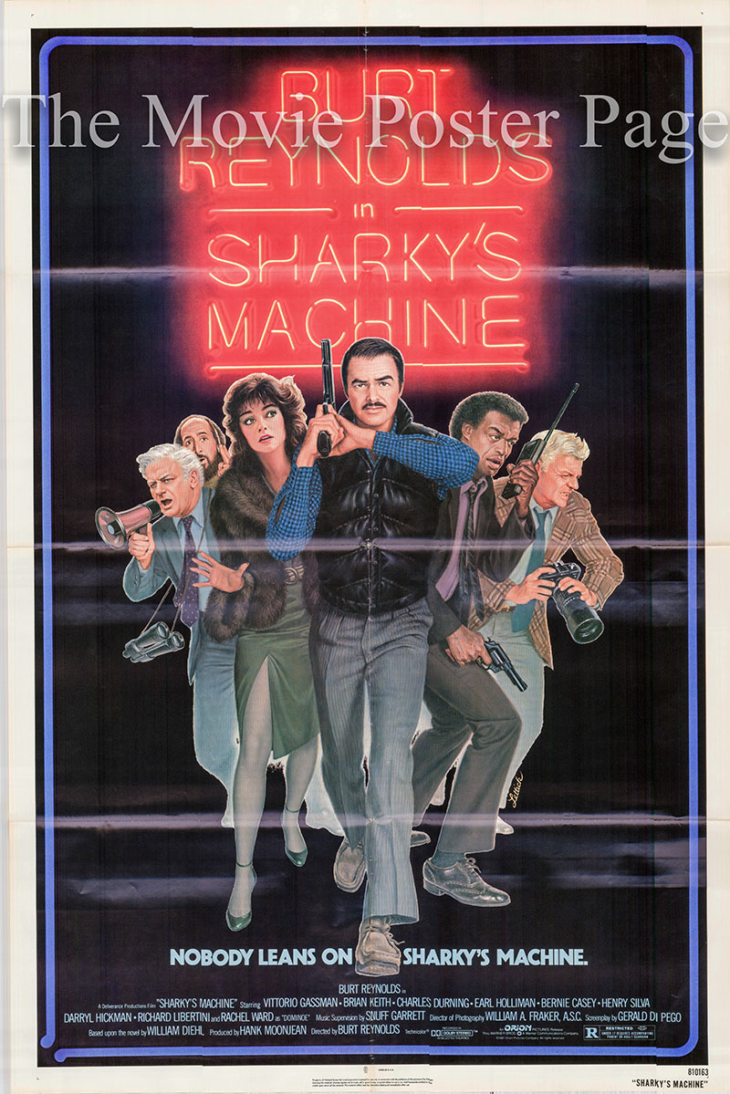 Pictured is a US one-sheet poster for the 1981 Burt Reynolds film Sharkey's Machine starring Burt Reynolds as Sergeant Tom Sharky.