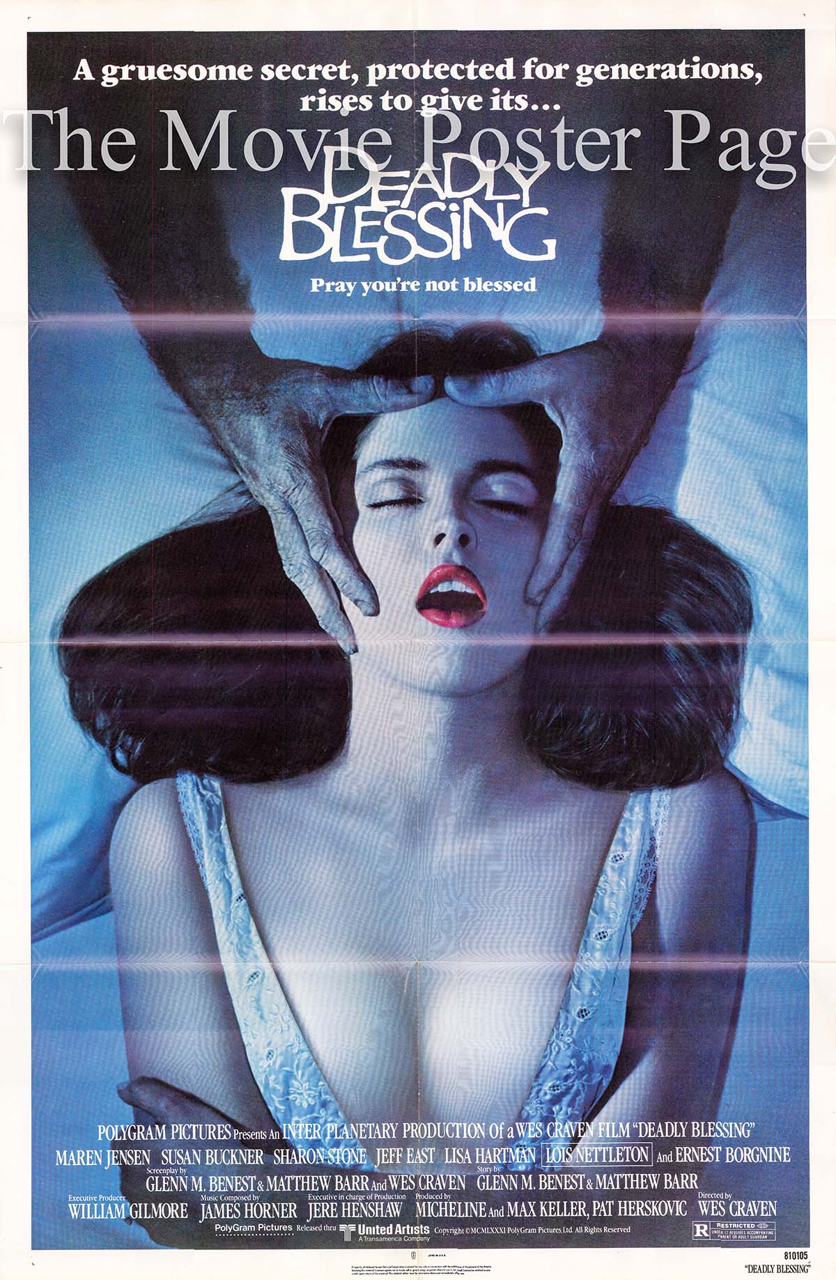 Pictured is a US one-sheet poster fothe 1981 Wes Craven film Deadly Blessing starring Sharon Stone as Lana Marcus.