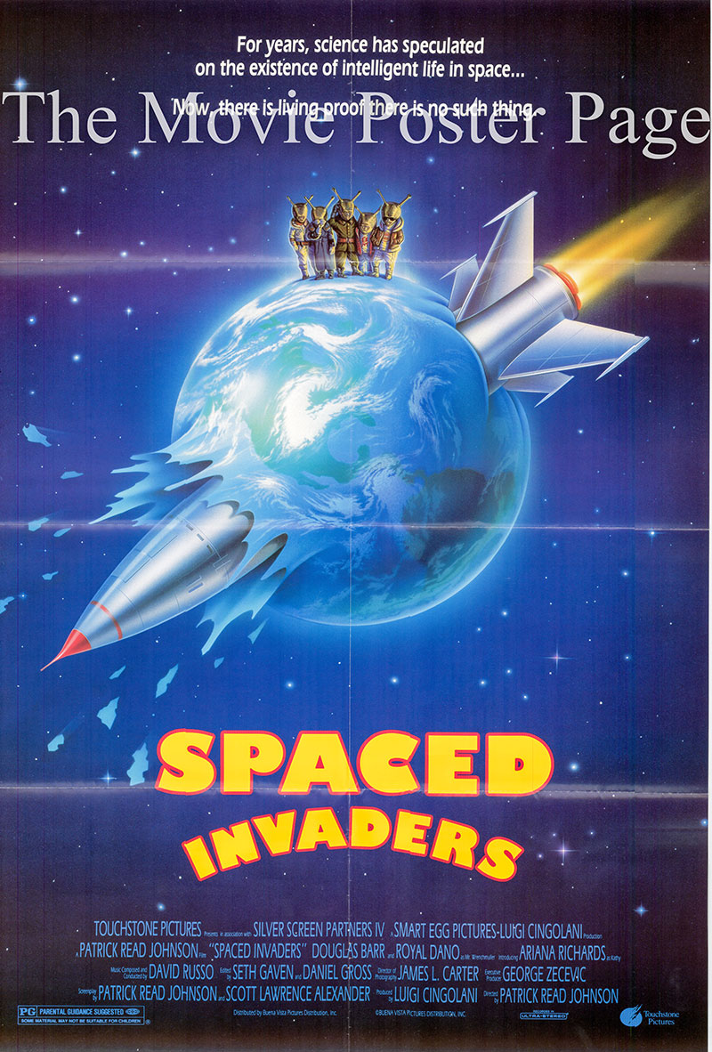 Pictured is a US one-sheet poster for the 1990 Patrick Read Johnson film Spaced Invaders starring Douglas Barr as Sam.