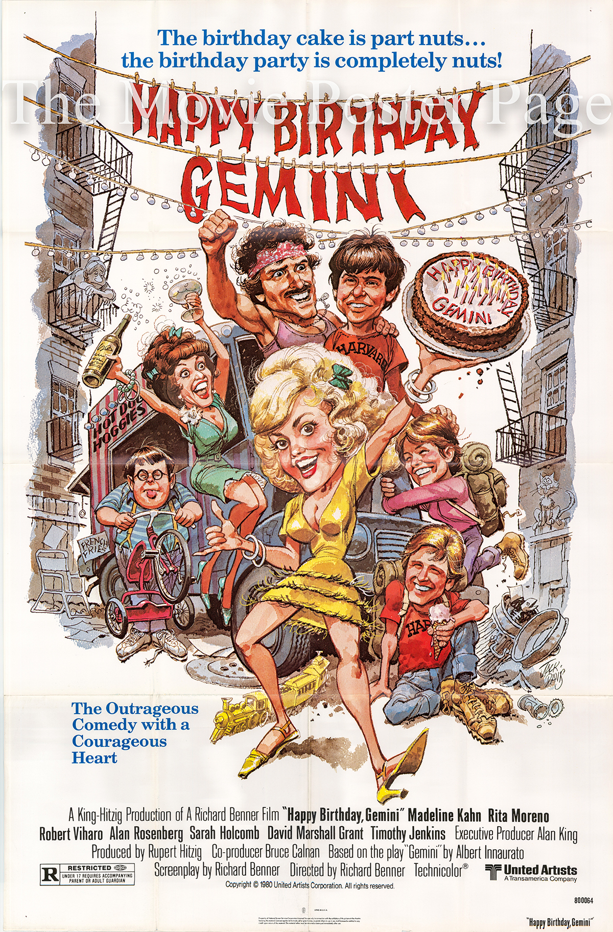 Pictured is a US promotional one-sheet poster for the 1980 Richard Benner film Happy Birthday Gemini starring Madeline Kahn as Bunny Weinberger.