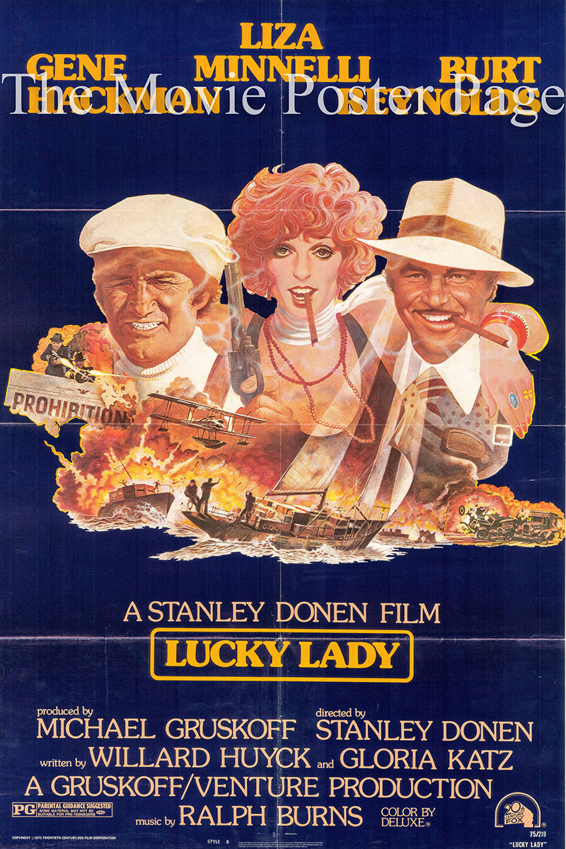 Pictured is a US one-sheet poster for the 1975 Stanley Donen film Lucky Lady starring Liza Minnelli.