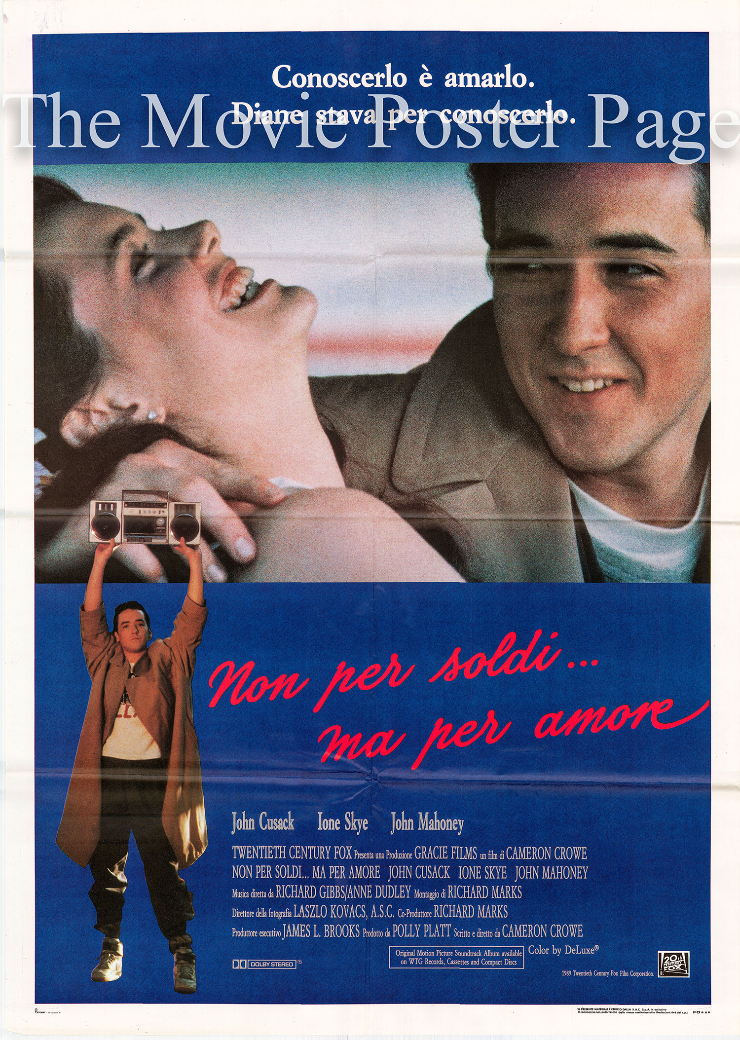 Pictured is an Italian two-sheet poster for the 1989 Cameron Crowe film <i>Say Anything</i> starring John Cusack as Lloyd Dobler.
