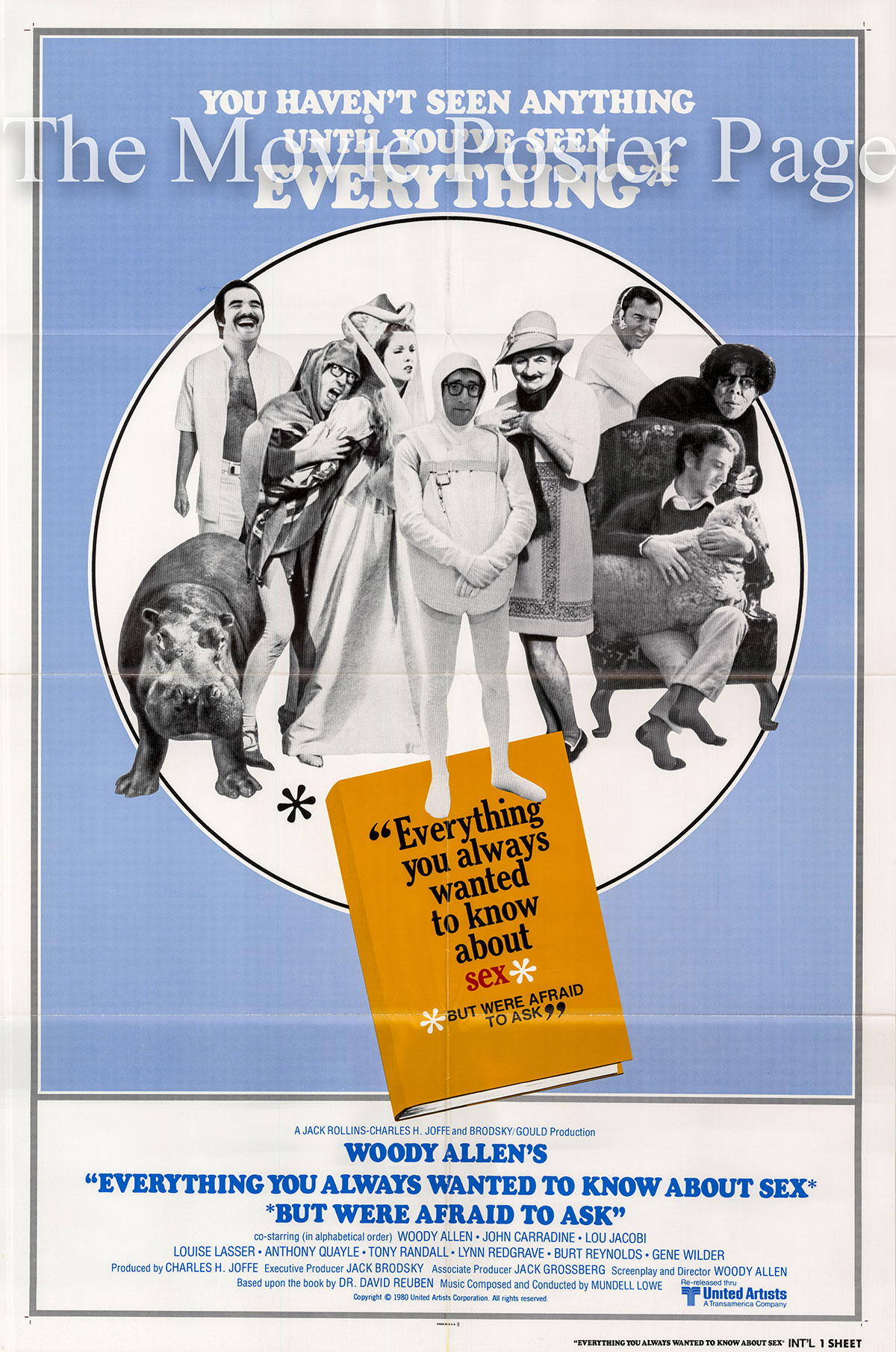 Pictured is an international one-sheet poster for a 1980 rerelease of the 1972 Woody Allen film Everything You Always Wanted to Know about Sex starring Woody Allen.