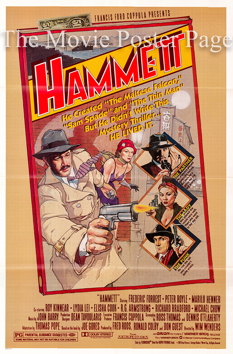 Pictured is a US promotional one-sheet poster for the 1982 Wim Wenders film Hammett starring Frederic Forrest as Hammett.