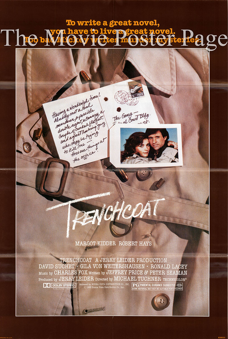 Pictured is a US one-sheet poster for the 1983 Michael Tuchner film Trenchcoat starring Margot Kidder as Mickey Raymond.