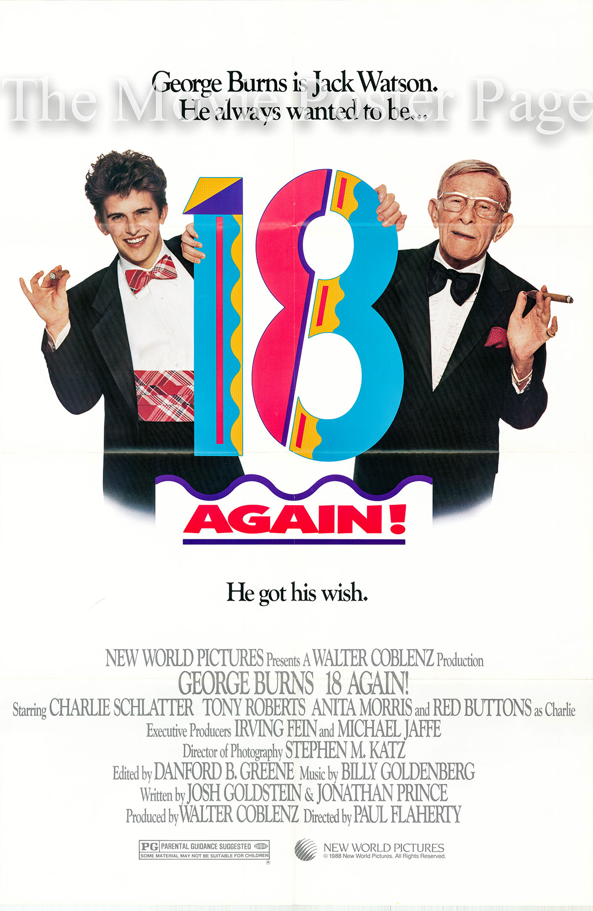 Pictured is a US one-sheet poster for the 1988 Paul Flaherty film Eighteen Again starring George Burns as Jack Watson.