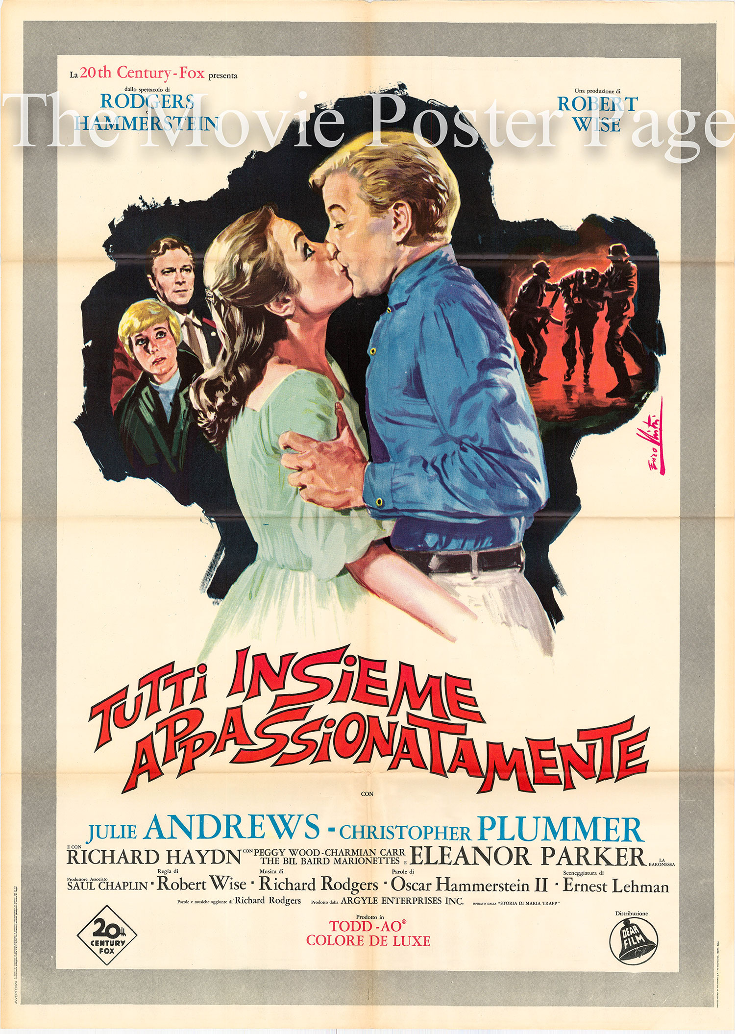 Pictured is an Italian two-sheet promotional poster for the 1966 Robert Wise film <i>The Sound of Music</i> starring Julie Andrews.
