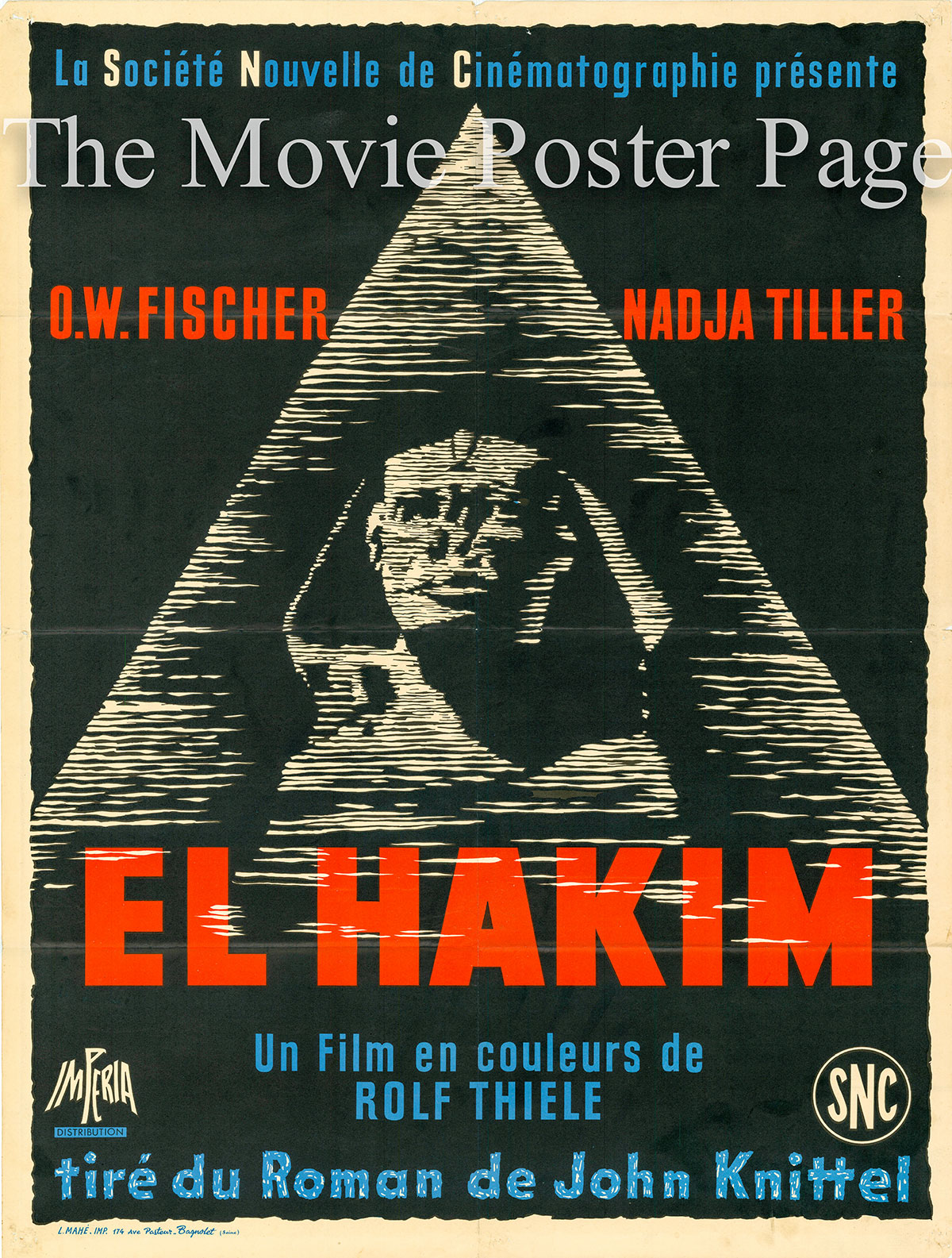 Pictured is a French promotional poster for the 1957 Rolf Thiele film El Hakim starring O.W. Fischer as Ibrahim.