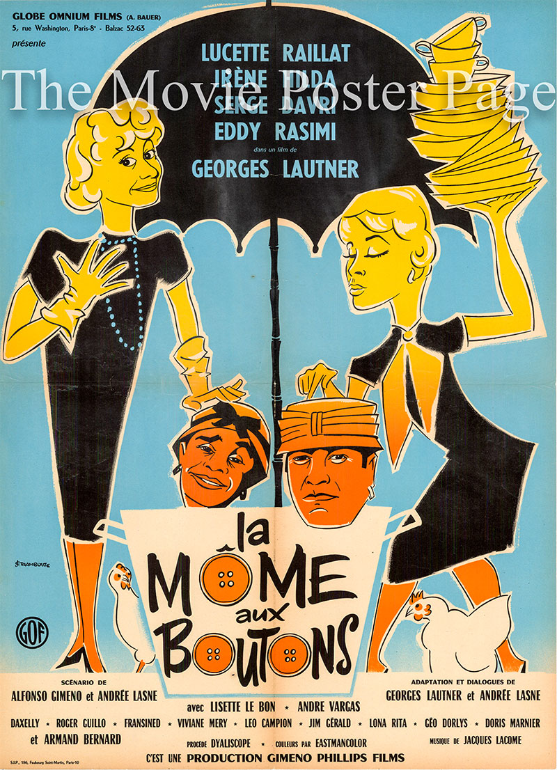Pictured is a French moyenne poster for the 1958 Georges Lautner film La Mome aux Boutons starring Serge Davri as Roule.