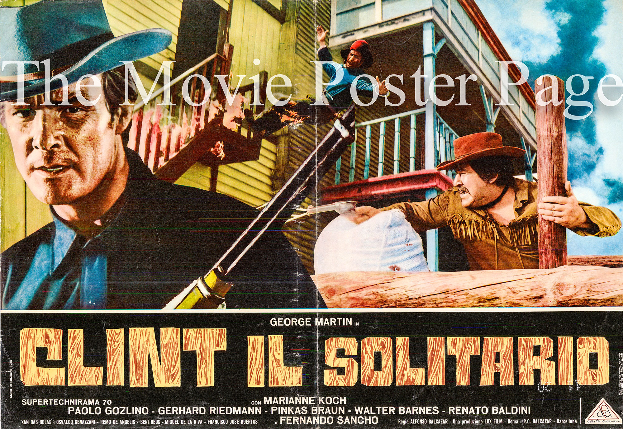 Pictured is an Italian busta poster made to promote the 1967 Alfonso Balcazar film Clint the Stranger starring George Martin.